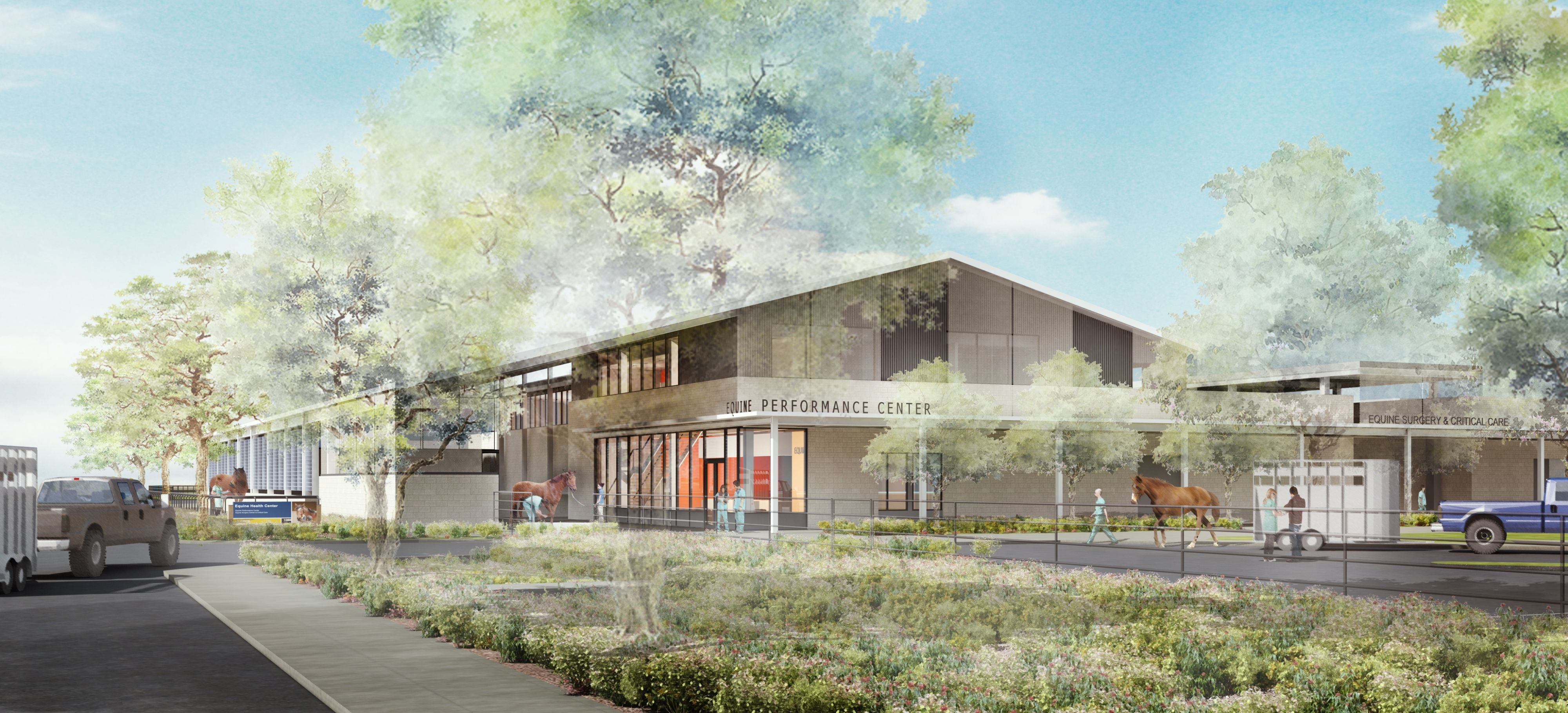 Artist rendering of the future Equine Performance Center at UC Davis.