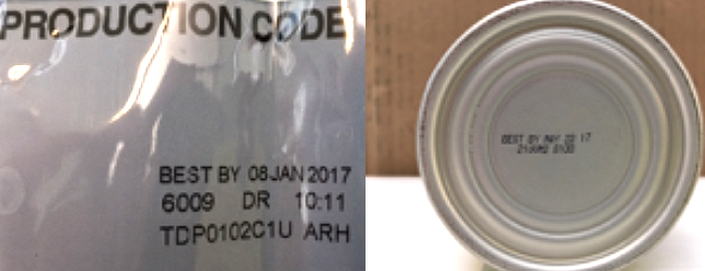 Lot number/expirationfrom can/bag