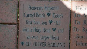 Honorary Mayor of Carmel Beach Katie's first born son OLI  with a Huge Head and an even Larger Heart RIP, OLIVER HARLAND