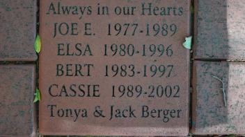 Always in our Hearts JOE E.  1977-1989 ELSA  1980-1996 BERT  1983-1997 CASSIE  1989-2002 Tonya & Jack Berger