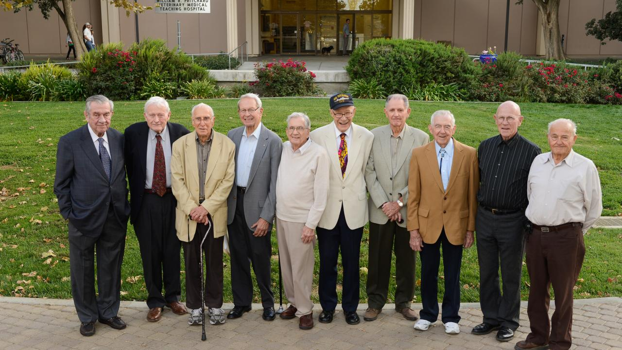 The inaugural Class of 1952 at a reunion in 2012. Dr. Baker on far right.