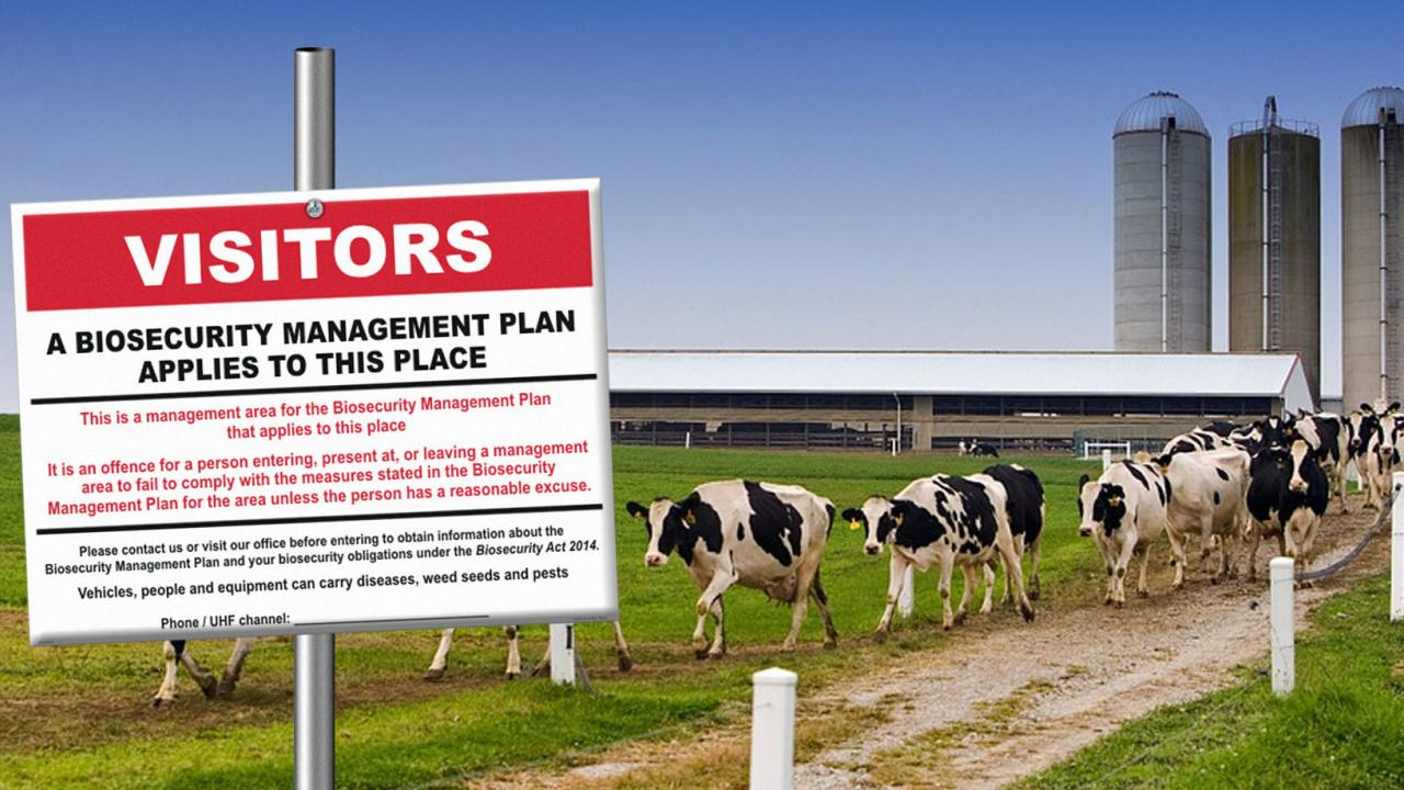 biosecurity sign on dairy farm