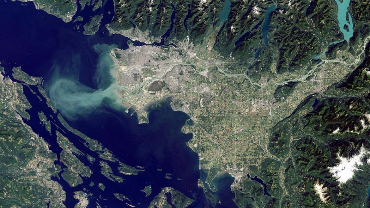 satellite view of Salish Sea