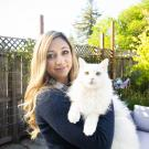 Natalia Caceres with her cat Kevin