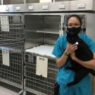 UC Davis veterinary technician holding a cat in the new feline suite