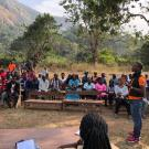 A community engagement meeting about Marburg virus in Kakoya village, Sierra Leone.